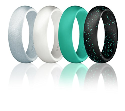 Silicone Wedding Ring For Women By ROQ, Affordable High Quality Silicone Rubber Wedding Bands, 4 Pack – Black with Glitter Teal, Teal Turquoise, White – Size 5