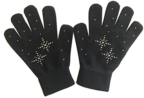Fashion Every Day @Fedol Girls Ice Skating Gloves/Magic Stretch Gloves with Clear Rhinestone Snow Flakes - Black - One Size