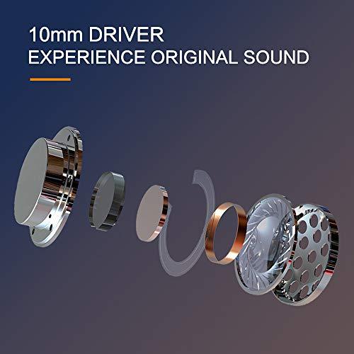 Tranya Rimor Fones de Ouvido Sem Fio Bluetooth 5.0 HiFi de 10 mm Driver True, Microfone integrado