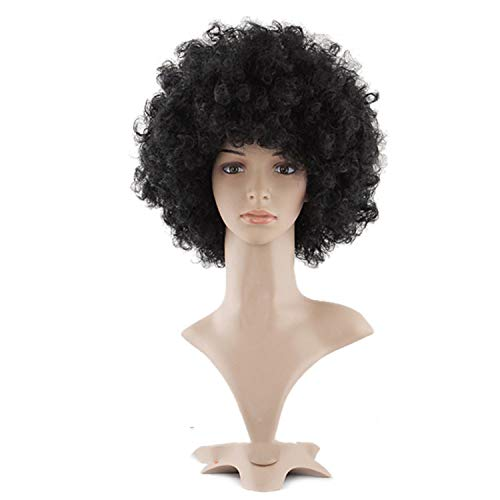 Wig Kinky Curly Hair Heat Resistant Synthetic Wigs Halloween Nautral Cosplay,Natural Black,14inches]()