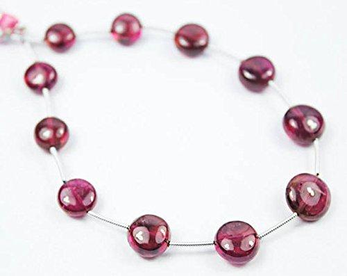 Rubellite Gemstone (JP_BEADS Pink Tourmaline Rubellite Coin Smooth Gemstone Craft Loose Beads Strand 11 Pcs 8
