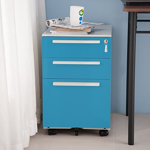 Merax 3 Drawer Mobile Metal Solid Storage File Cabinet with Keys Blue [並行輸入品] B07B78B1YM