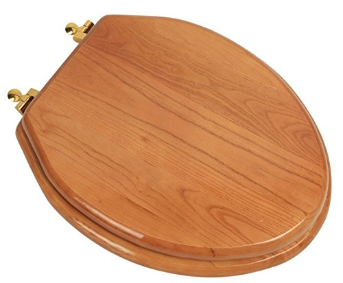 Bath Décor 5F1E2-17BR Elongated Toilet Seat in Traditional Design with Polished Brass Metal Hinges, Natural Oak Finish
