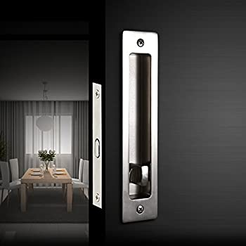 CCJH Invisible Door Locks Handle With Keys For Sliding Barn Wooden Door  Furniture Hardware 180mm/7.1inches (Silver)