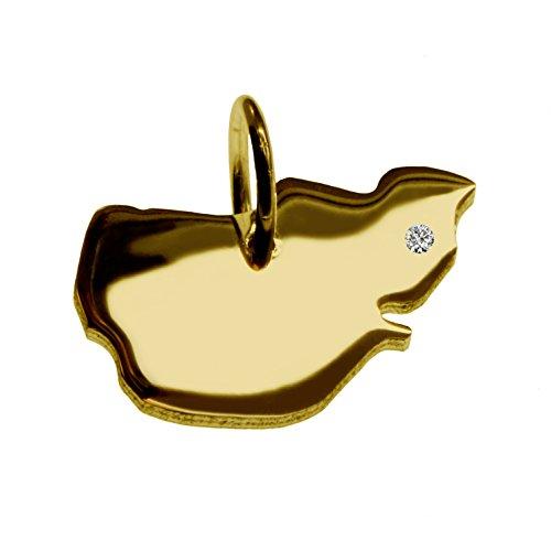 Endroit Exclusif à éplucher les Worm Carte Pendentif avec brillant à votre Désir (Position au choix.)-massif Or jaune de 585or, artisanat Allemande-585de bijoux