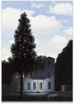 MXIBUN Cartel e Impresiones en HD Rene Magritte Painting The Empire of Light Cuadros de Arte de Pared Lienzo Pintura Regalo Decoración para el hogar sin Marco 50 * 70cm