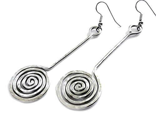- Elaments Design German Silver Hammered Earrings Tight Spiral Pendulum Design 2.5 Inches
