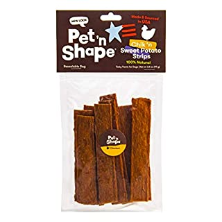 Pet 'n Shape Chik 'N Sweet Potato Strips - Made and Sourced in The USA - All Natural Healthy Dog Treat, 3.5 oz