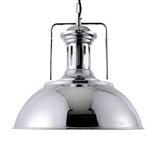 Dome Chrome Floor Lamp - Lingkai Pendant Lighting Industrial Nautical Barn Pendant Light Single with Rustic Dome Bowl Shape Mounted Fixture Ceiling Lamp Chandelier (Chrome)