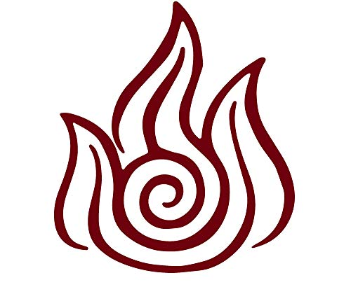 ANGDEST Firebending Symbol (Burgundy) Waterproof Vinyl Decal Stickers for Laptop Phone Helmet Car Window Bumper Mug Tuber Cup Door Wall Decoration