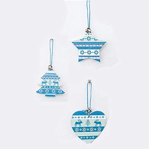Christmas Bells - Christma Wooden Pendant Tree Blue Painted Sign Ornament Bell Hanging - Alexander Graham Christmastide Gong Christmastime Campana Day Noel Buzzer Yuletide Doorbell - 1PCs