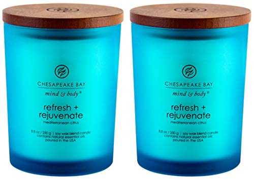 Chesapeake Bay Candle Scented Candles, Refresh + Rejuvenate (Mediterranean Citrus), Medium -