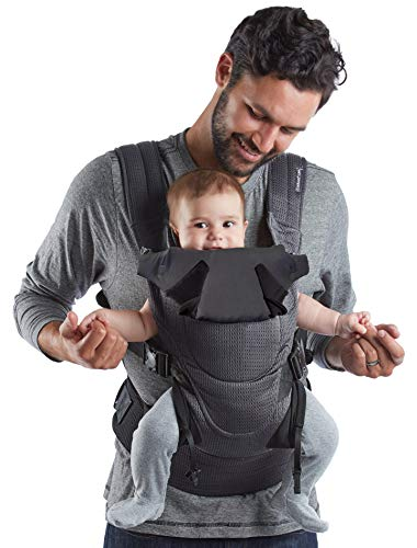 Contours Love 3-in-1 Baby & Child Carrier with 3 Seating Positions, Easy to Wear Front Buckles, Extra-Wide Padded Shoulder Straps, Comfortable, Ergonomic, Charcoal Gray
