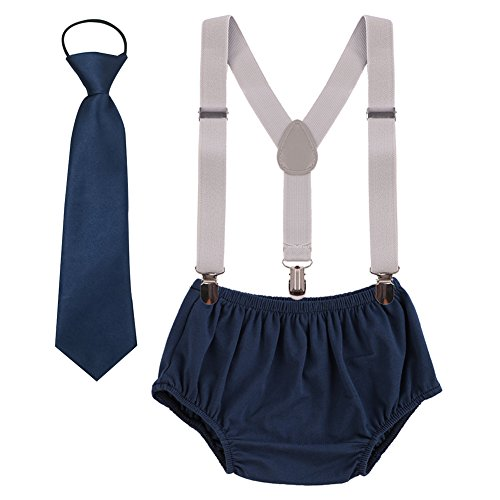 - Baby boys Suspenders Bloomers Necktie Set, Adjustable Y Back Clip Kids Boutique Cake Smash Outfits Navy + Grey One Size