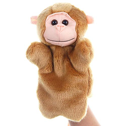 SweetGifts Monkey Hand Puppets Plush Animal Toys for Imaginative Pretend Play Stocking Storytelling Brown