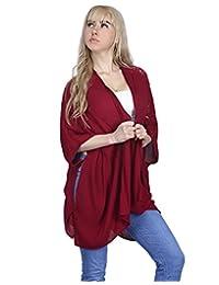 HDE Women's Plus Size Kimono Cardigan Open Front Sweater Loose Lace Sleeve Shawl