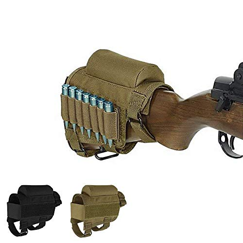 - AUOON Rifle Stock Pack, Cheek Pad/Buttstock Ammo Holder Pouch, Tactical Buttstock Shotgun Rifle Shell Holder with Molle 7 Shells Pouch for .300 - .308 Win Mag, Khaki