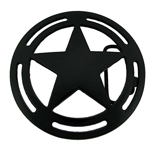 Star Belt Buckle Cowboy Texas US Rodeo Metal Costume Halloween New Sheriff Badge (Black Jumbo)