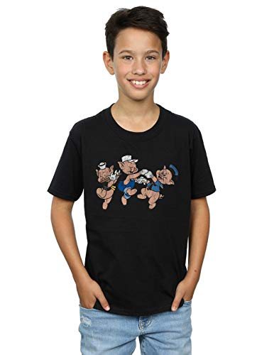 Disney Boys Three Little Pigs Having Fun T-Shirt Black 5-6 Years