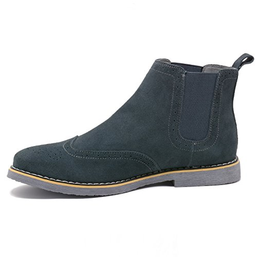 Dress Ankle Wingtip Boots Suede swiss Boots Genuine Chelsea alpine Shoes Gray Men's qwBpUYSn4