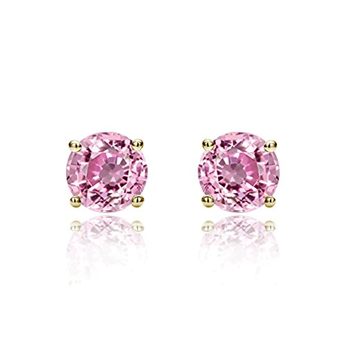 14K Yellow Gold 5mm Round Cubic Zircornia Prong Set Solitaire Screwback Stud Earrings - -