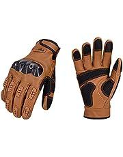 Vgo 1 Pair Full Finger Motorcycle Gloves, Motorbike Gloves(Size L,Brown,GA9638HL)