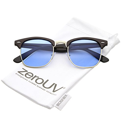 zeroUV - Modern Semi Rimless Color Tinted Square Lens Horn Rimmed Sunglasses 49mm (Black Gold/Blue) (Best Optic For C308)