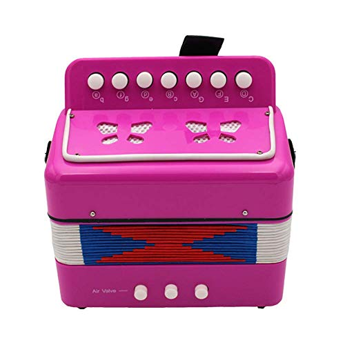 JOYSAE 7 Keys 2 Bass Accordion Kids Accordion Toy Solo Ensemble Instrument Musical Educational Instrument for Early Childhood Teaching (Rose red)