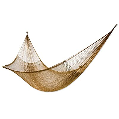 NOVICA Nylon Metallic Rope Hammock 'Glowing Copper' (Single) - Size: 3.9 ft. W x 13.1' H Authentic: an original NOVICA fair trade product in association with National Geographic. Certified: comes with an official NOVICA Story Card certifying quality & authenticity. - patio-furniture, patio, hammocks - 41HVu9Gw5wL. SS400  -