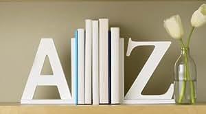 Design Ideas A to Z Bookends, White