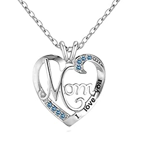UEUC Mother's Birthday Gift I Love You Mom Rhinestones S925 Sterling Silver Heart Pendant Necklace