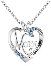 Mother's Birthday Gift I Love You Mom Rhinestones S925 Sterling Silver Heart Pendant Necklace