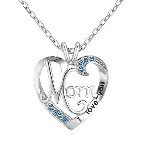 UEUC Mother's Birthday Gift I Love You Mom Rhinestones S925 Sterling Silver Heart Pendant Necklace (Nice Design Silver)