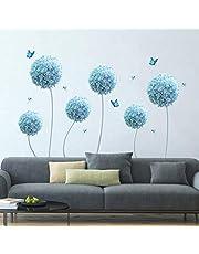 decalmile Muurstickers Blauwe paardebloem Muurtattoos Allium Bloem Vlinder Wanddecoratie Slaapkamer Huiskamer Kantoor Huis Decor
