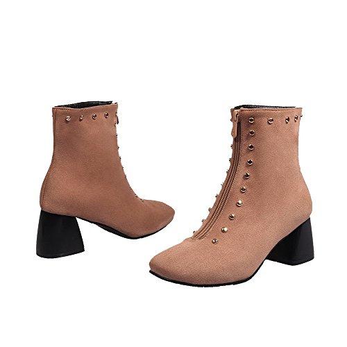 AllhqFashion Damen Rein Mattglasbirne Mittler Absatz Quadratisch Zehe Reißverschluss Stiefel Aprikosen Farbe
