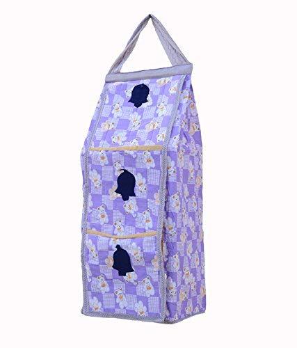Srim Hanging Kids Almirah Taddy Prin Collapsible Wardrobe, 95 X 35X 25 cm, Purple