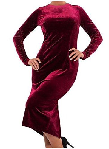 Mid Women Velvet Size Dress Red O Pure 4XL Color Plus Neck Boho Line Wine Coolred RqBwdB
