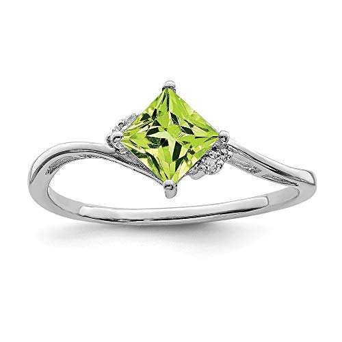 (925 Sterling Silver Diamond Green Peridot Square Band Ring Size 7.00 Gemstone Fine Jewelry Gifts For Women For Her )