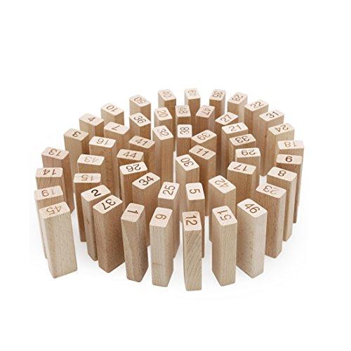 積み木 ジェンガ ドミロ パズル 親子ゲーム バランスゲーム 知育おもちゃ 白木 無着色 木製 数字 子供 ボーイズ ガールズ 3歳 集中力 プレゼント 木のぬくもり 人気 51ピース
