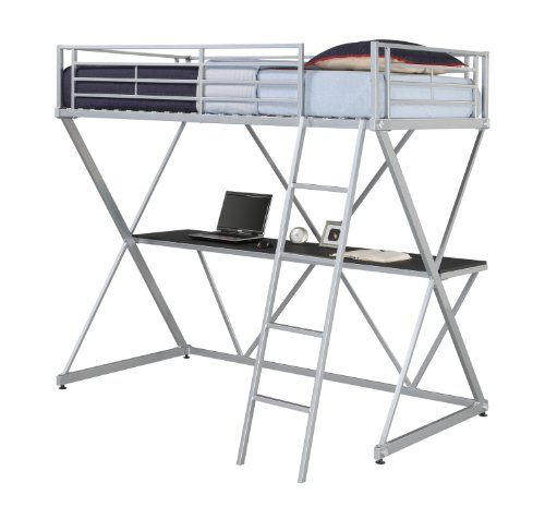 - DHP X-Loft Metal Bunk Bed Frame with Desk - Silver with Space Saving Design