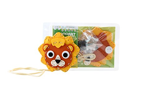 Play Needle (ggomaART Sewing Kit for Kids by DIY Art Craft Hand Stitch Play Set Has Safety Needle Thread Harmless Felt Cloth Button Instruction for Beginner Young and Little Girl Boy - LION)