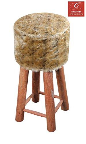 Gold Fauxfur bar Stool, 4 Wooden Legs,30X30X68cms,Best for bar,Kitchen,Dressing Room,Soft,Comfortable by CHOPRA INTERNATIONAL