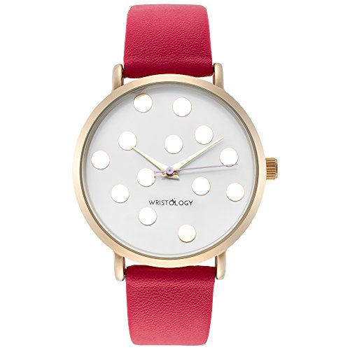 WRISTOLOGY Olivia Womens Polka Dot Gold Boyfriend Watch Raspberry Pink Leather Strap