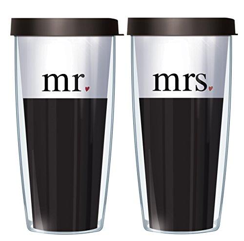 Mr & Mrs 1 Corinthians 13 Scripture Set Traveler 16 Oz Tumbler Cup with Black Lids