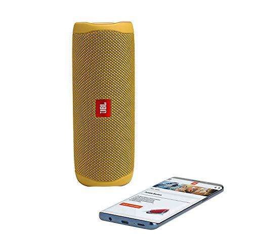 JBL Flip 5 Waterproof Portable Wireless Bluetooth Speaker Bundle with USB 2.0 Bluetooth Adapter - Yellow