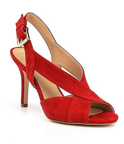 Toe Sandals Open Kors Michael (Michael Michael Kors Womens Becky Sandal Leather Open Toe, Bright Red, Size 9.5)