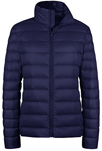 Wantdo Women's Packable Ultra Light Weight Short Down Jacket(Navy, 2XL)