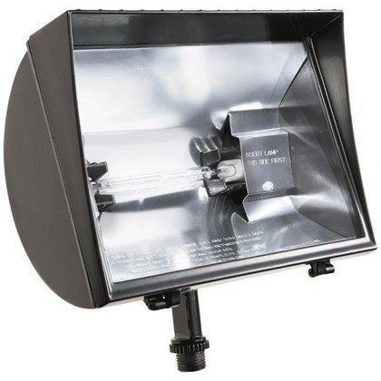 RAB Lighting QF500F Quartz Curve Floodlight, Aluminum, 500W Power, 11000 Lumens, 120V, Bronze by RAB Lighting