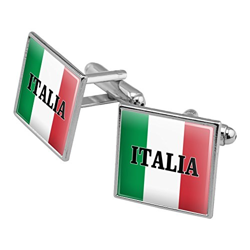 Italia Italy Italian Flag Square Cufflink Set Silver Color (Cufflinks Italian Square)