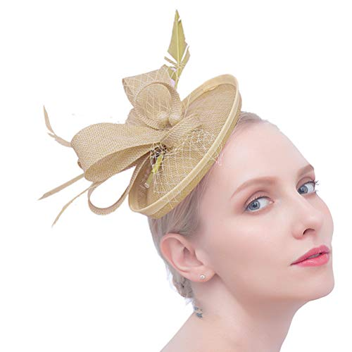 Felizhouse Fascinator Hats Women Ladies Feather Cocktail Party Hats Bridal Headpieces Kentucky Derby Ascot Fascinator Headband (#2 Cambric Khaki) by Felizhouse (Image #1)